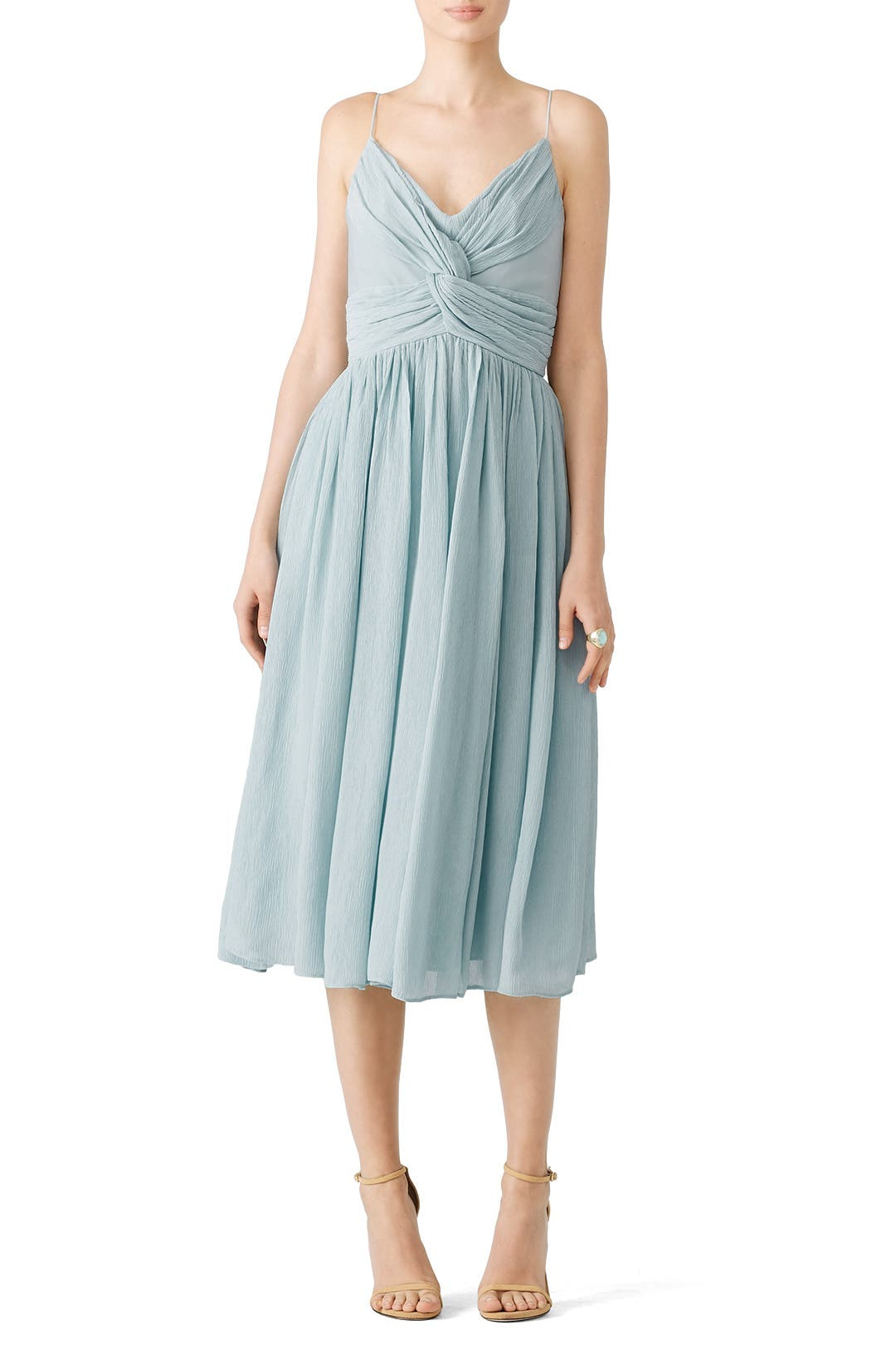 Blue Knotted Midi Dress by ADEAM for $230 | Rent the Runway