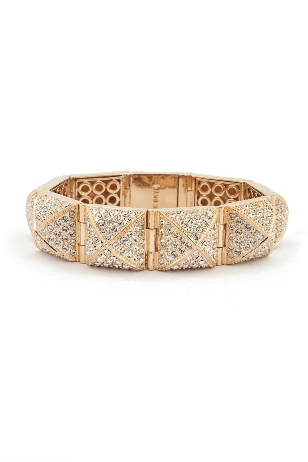 Gold Pave Pyramid Stud Bracelet by CC Skye