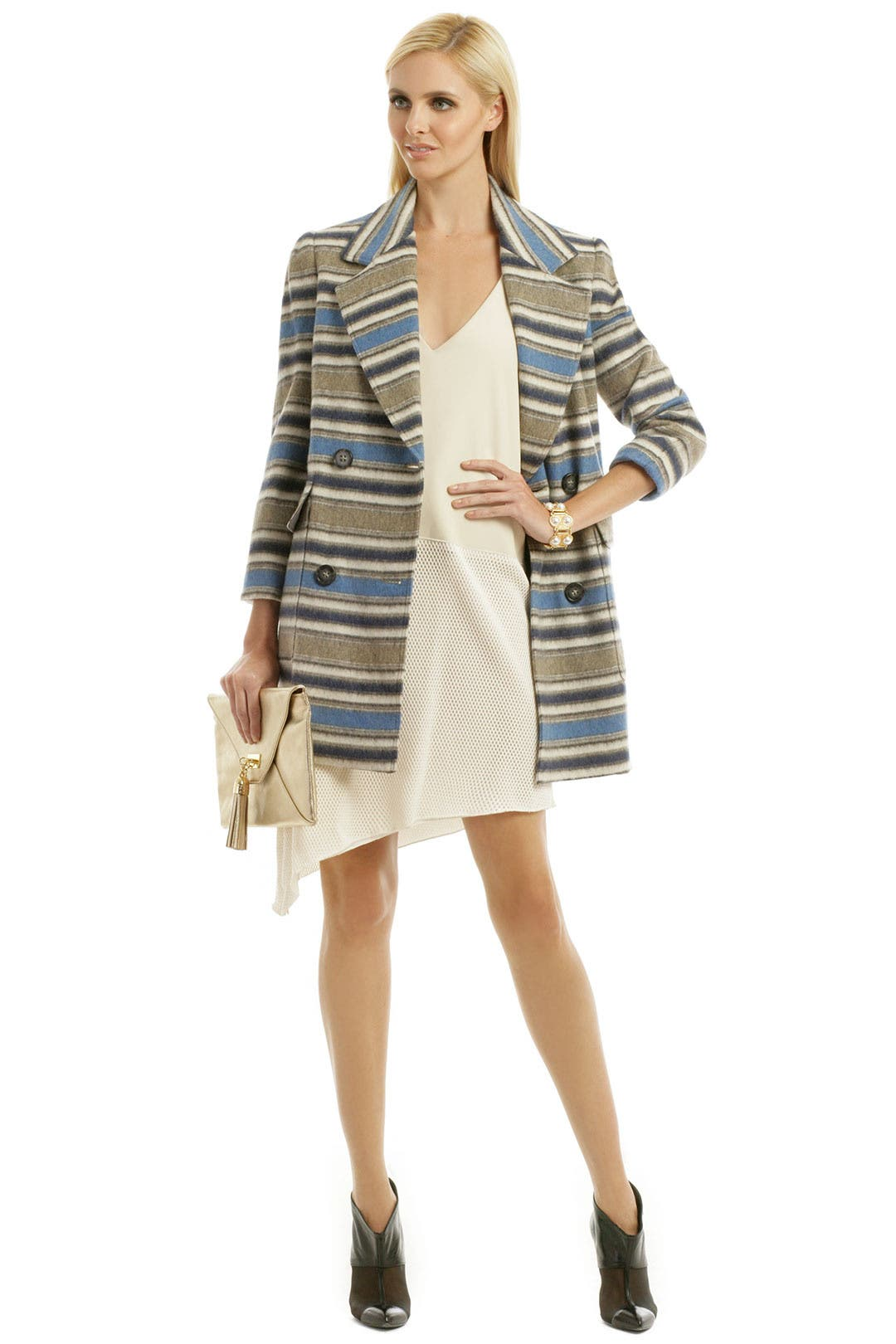 Block Stripe Wool Coat by Yigal Azrouël