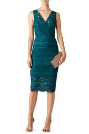 Teal Rose Bush Lace Sheath by Saylor