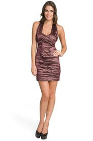 Plum Metallic Ruched Dress by Nicole Miller