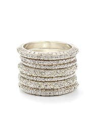 Silver Glitz Bangle Set by Chamak by Priya Kakkar
