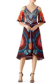 Printed Cold Shoulder Dress by Temperley London