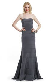 Charcoal Strips Strapless Gown by Nicole Miller
