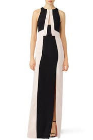 Embroidered Color Block Gown by J. Mendel