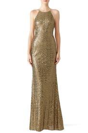 Gold Sequin Halter Gown by Badgley Mischka for $100 | Rent the Runway