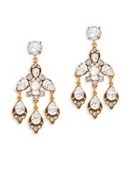 Crystal and Gold Chandelier Earrings by Oscar de la Renta