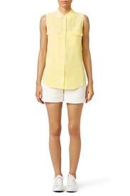 Yellow Slim Signature Shirt by Equipment