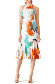 Watercolor Silk Ruffle Dress by Christian Siriano
