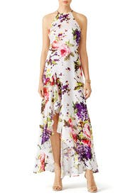White and floral maxi dress