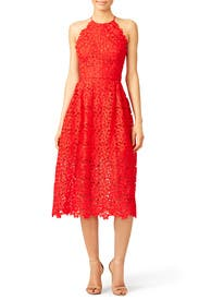 Cherry Red Lace Halter Dress by Cynthia Rowley