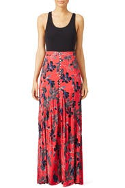 Red Smooth Sailing Maxi Skirt by Free People