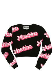 Black Think Pink Cropped Sweater by Moschino
