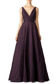 Burgundy Center Stage Gown by ML Monique Lhuillier