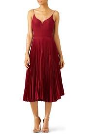 Oxblood Pleated Sweetheart Dress by Nicole Miller