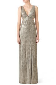 Gold Crinkle Gown by Adrianna Papell