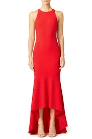 Red Cutaway Illusion Gown by Theia
