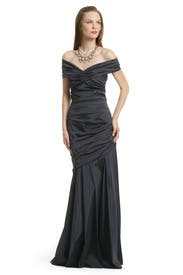 Navy Taffeta Ruched Gown by Theia