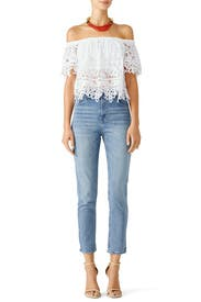 White Lace Off Shoulder Top by Free People