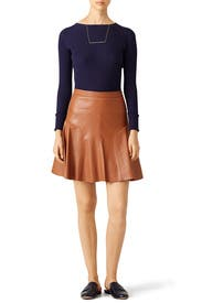 Cognac Vegan Leather Skirt by Rebecca Taylor for $60 | Rent the Runway