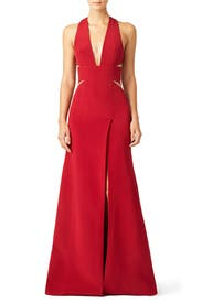 Blood Deep V Articulated Column Gown by KAUFMANFRANCO