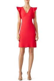 Red True Love Ruffle Dress by Yoana Baraschi