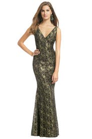 Golden Leaf Gown by Carmen Marc Valvo