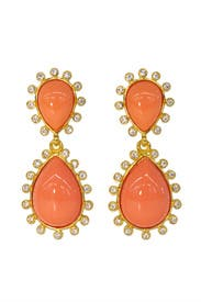Crystallized Salmon Drop Earrings by Kenneth Jay Lane
