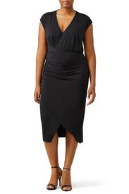 Black Ruched Wrap Dress by ELOQUII