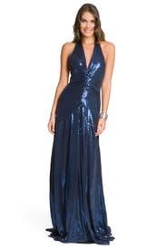Navy Sequin Gown by Nicole Miller