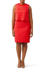 Red Scalloped Overlay Dress by ELOQUII