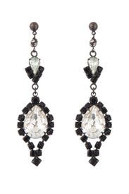Black and Crystal Chandelier Earrings by Tom Binns