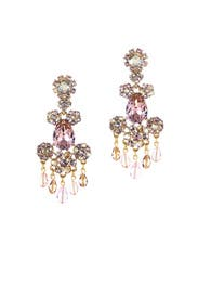 Purple Crystal Flower Bold Earrings by Oscar de la Renta