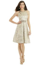 Metallic Elderflower Dress by Carmen Marc Valvo