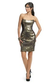 Metallic Gold Herrington Dress by Peter Soronen