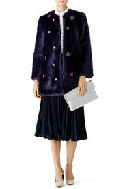 Navy Mirror Faux Fur Coat by SALONI for $110 | Rent the Runway