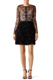 Black Angelica Lace Swan Dress by nha khanh