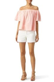 Peach Off Shoulder Gauze Top by Rebecca Taylor