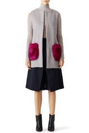 Orchid Pocketed Grey Vest by Unreal Fur