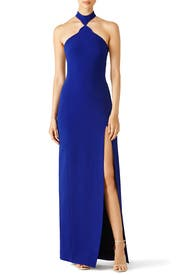 Blue Hourglass Halter Gown by David Koma