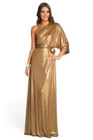 Golden Draped Gown by Halston Heritage