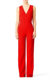 Red Pebbled Crepe Jumpsuit by Tory Burch