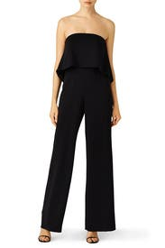 Black Retro Ruffle Jumpsuit by Jay Godfrey