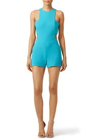 Turquoise Bandeau Cut Romper by Nicole Miller