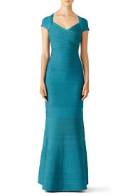 Teal Cap Sleeve Mermaid Gown by Hervé Léger