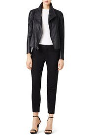 Black Feather Leather Scuba Jacket by VINCE.