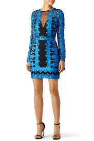 Cobalt Embroidered Mesh Sheath by Nicole Miller