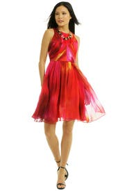 Red Powder Print Chiffon Dress by Matthew Williamson