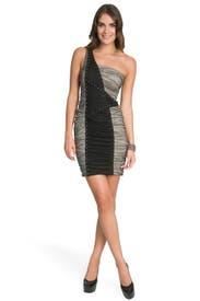 Geometric Colorblock Shoulder Dress by Nicole Miller