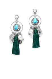 Silver and Green Charm Tassel Earrings by Oscar de la Renta